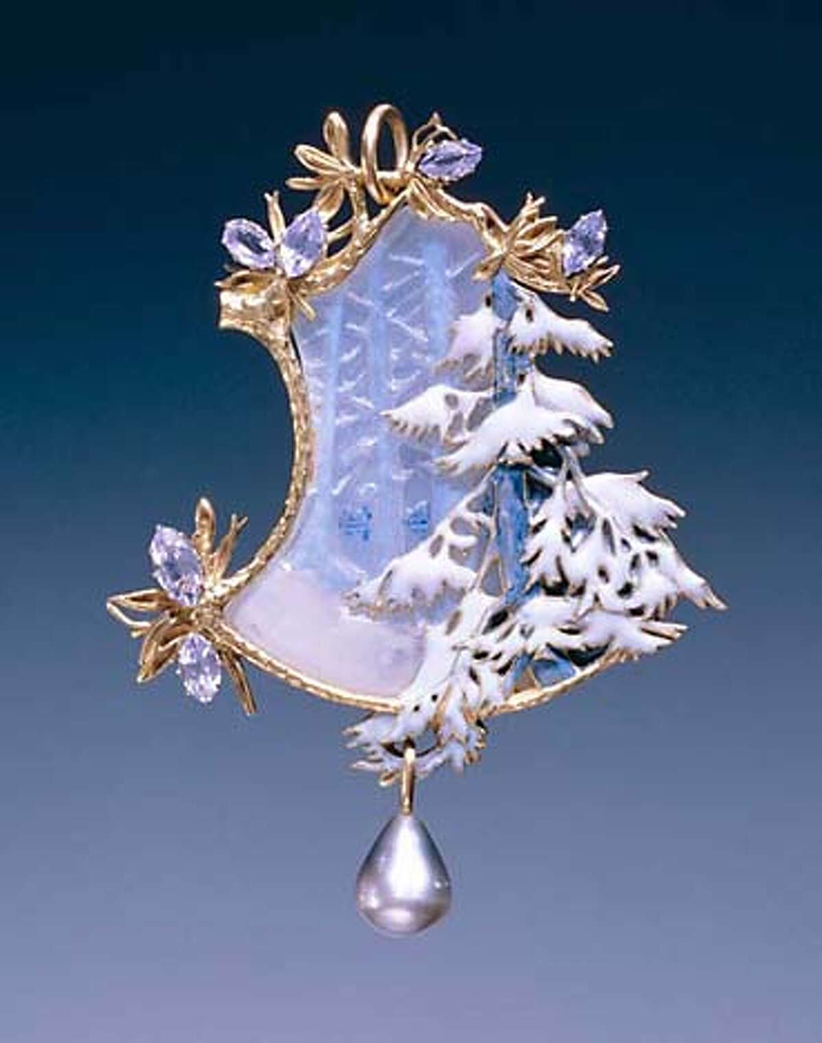 Winter Landscape, c. 1899�1900 Lalique 18K gold, opaque enamel, black pearl, glass L: 8.5 cm W: 6.5 cm Private Collection, New York On view in Masterpieces of French Jewelry Legion of Honor, San Francisco 10 February�10 June 2007