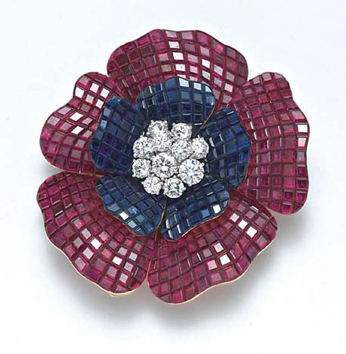 . Flower Brooch, 19l78 Van Cleef & Aprels 18K gold, platinum, rubies, sapphires, diamonds W: 3 cm H: 4 cm Collection of Iris Cantor On view in Masterpieces of French Jewelry Legion of Honor, San Francisco 10 February�10 June 2007