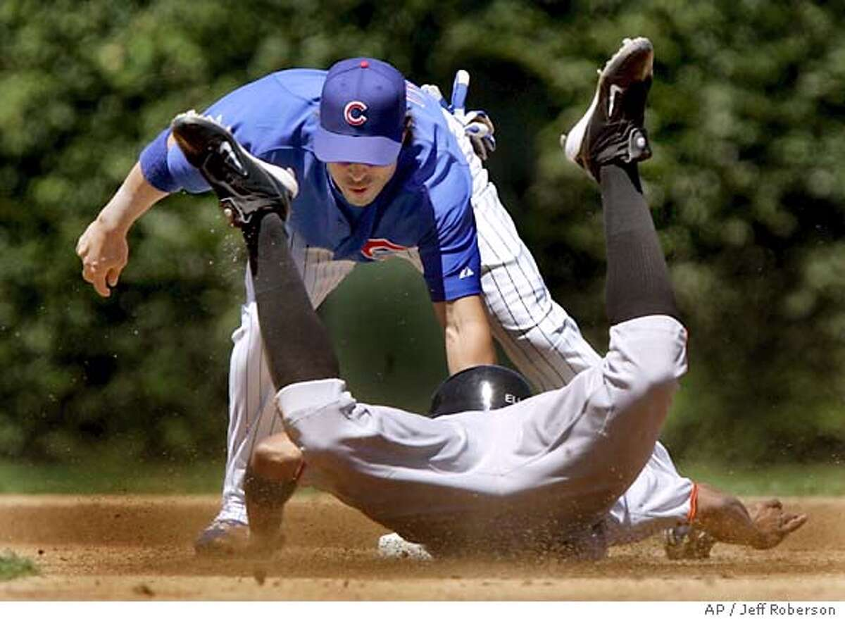 San Francisco Giants' Jason Ellison, bottom, is tagged out trying to steal second by Chicago Cubs second baseman Todd Walker during the first inning Wednesday, July 27, 2005 in Chicago. (AP Photo/Jeff Roberson)