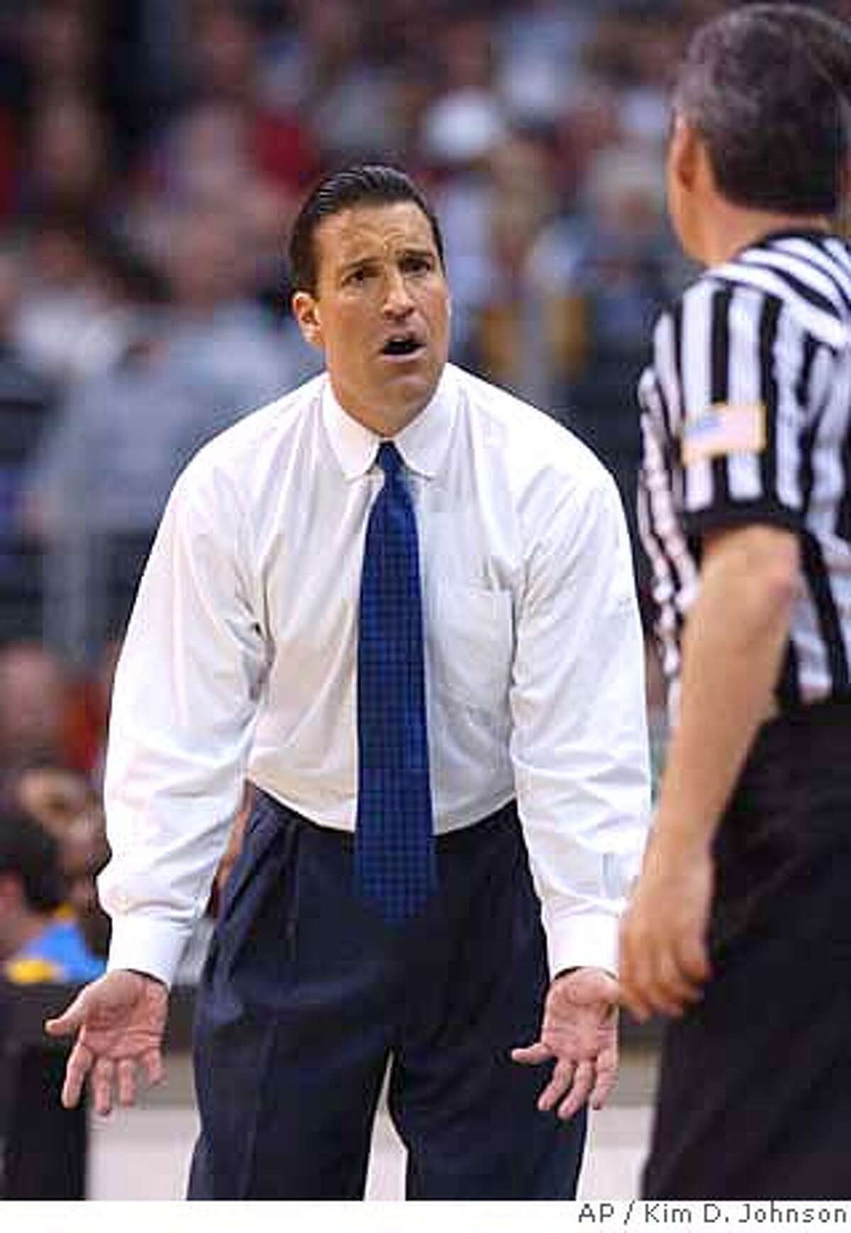 UCLA coach Steve Lavin complains about a call during the second half against Oregon during a semifinal of the Pacific 10 tournament Friday, March 14, 2003, in Los Angeles. Oregon won 75-74. (AP Photo/Kim D. Johnson) also ran 03/10/2004 Bill Cartwright Bill Cartwright ProductNameChronicle CAT