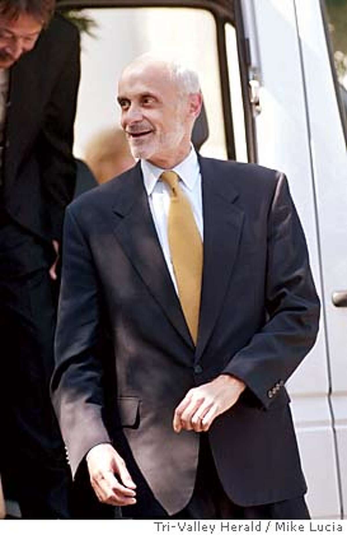 Department of Homeland Security Secretary Michael Chertoff visits the Lawrence Livermore National Laboratory Wednesday, July 28, 2005, in Livermore, Calif. Protecting transportation against terrorism remains a priority for the government, though the money spent reinforcing a transit system must be weighed against the consequences of an attack, Chertoff said. (AP Photo/Tri-Valley Herald, Mike Lucia)