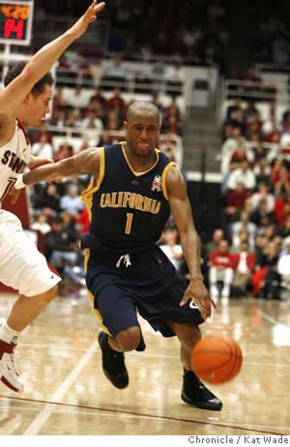 CAL_STANFORD_2_0593_KW_.jpg Cal State Golden Bear's high scorer (26 points) Ayinde Ubaka (RIGHT) drives past the Cardinal's #1 Mitch Johnson towards the basket during the second period of the game against the Stanford Cardinals during the Pac 10 Conference Game at Stanford University in the Maples Pavilion in Palo Alto on January 3, 2007. Kat Wade/The Chronicle Mandatory Credit for San Francisco Chronicle and photographer, Kat Wade, Mags out