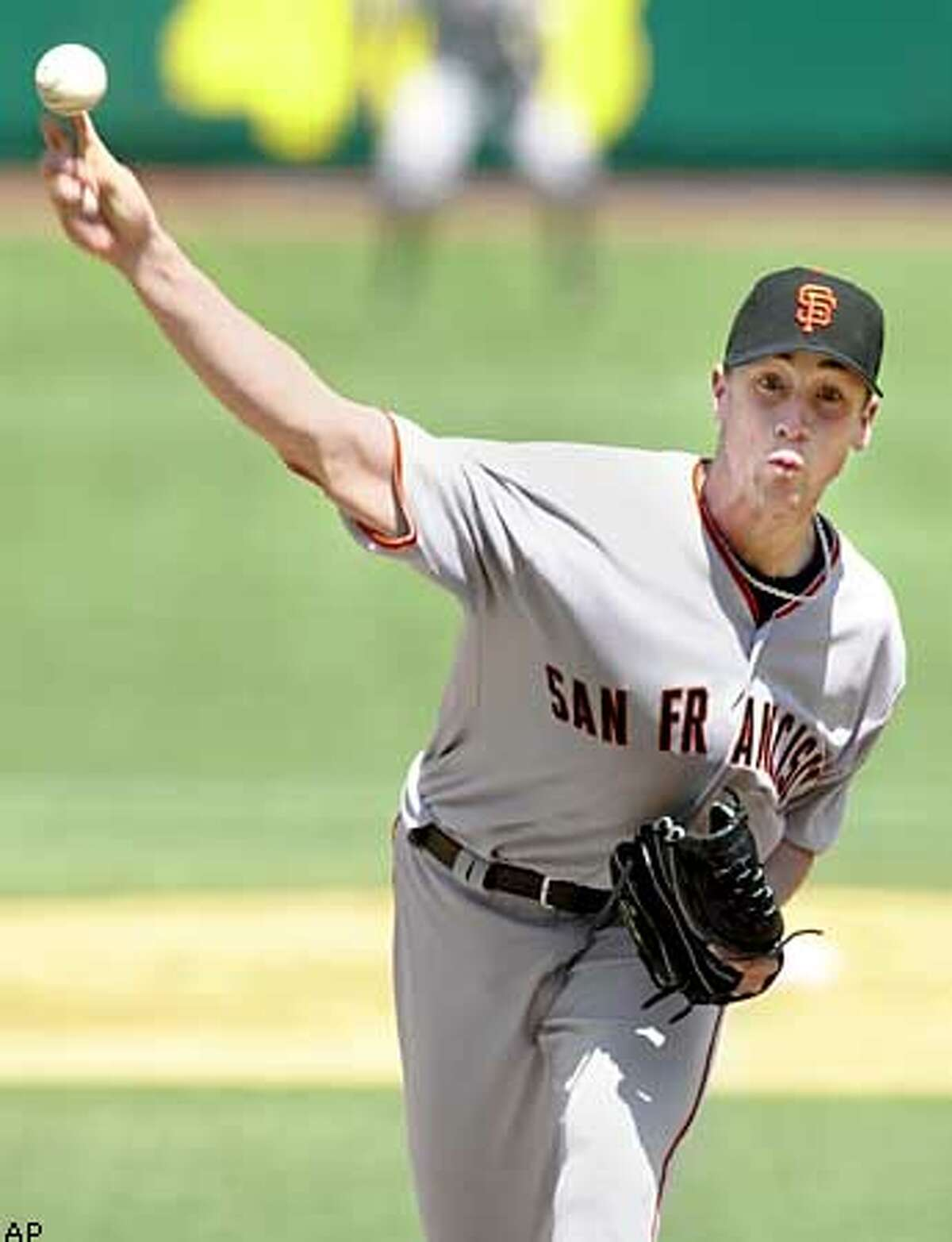 San Francisco Giants pitcher Jesse Foppert throws a pitch to the Philadelphia Phillies during the second inning Sunday, April 27, 2003 in Philadelphia. The Phillies won 1-0 with pitcher Kevin Millwood throwing a no-hitter .(AP Photo)