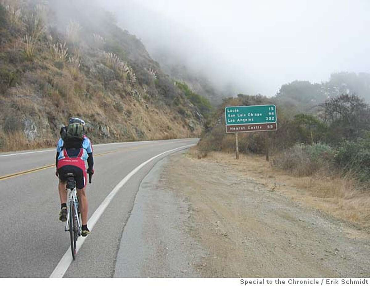 travel coastbike11 Piet Canin pedals southward through the morning fog of southern Big Sur. photo: erik schmidt special to the chronicleONE-TIME USE ONLY / GATE, BULLDOG OK