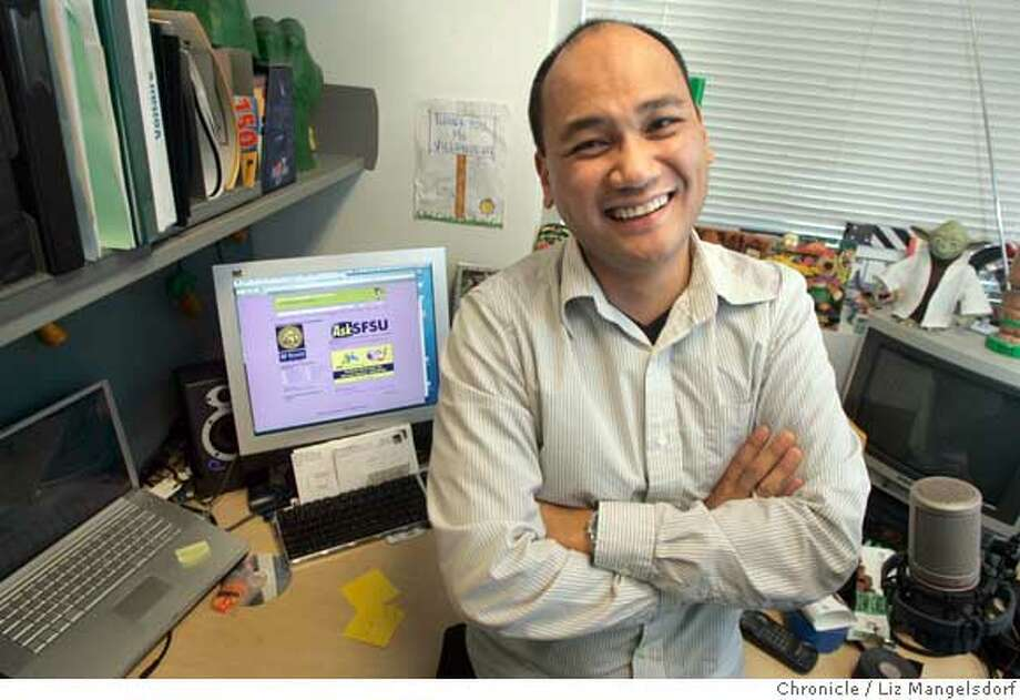 Voltaire Villanueva, runs the social network that SFSU students use, including web pages on myspace. Photographe in his office at San Francsico State University on Jan. 30, 2007.  Photo by Liz Mangelsdorf/ San Francisco Chronicle Ran on: 02-02-2007  Voltaire Villanueva, S.F. State admissions counselor, set up the site &quo;because this is what students deal with every day.''  Ran on: 02-02-2007 Ran on: 02-02-2007 Ran on: 02-02-2007  Voltaire Villanueva, S.F. State admissions counselor, set up the MySpace site. Photo: Liz Mangelsdorf