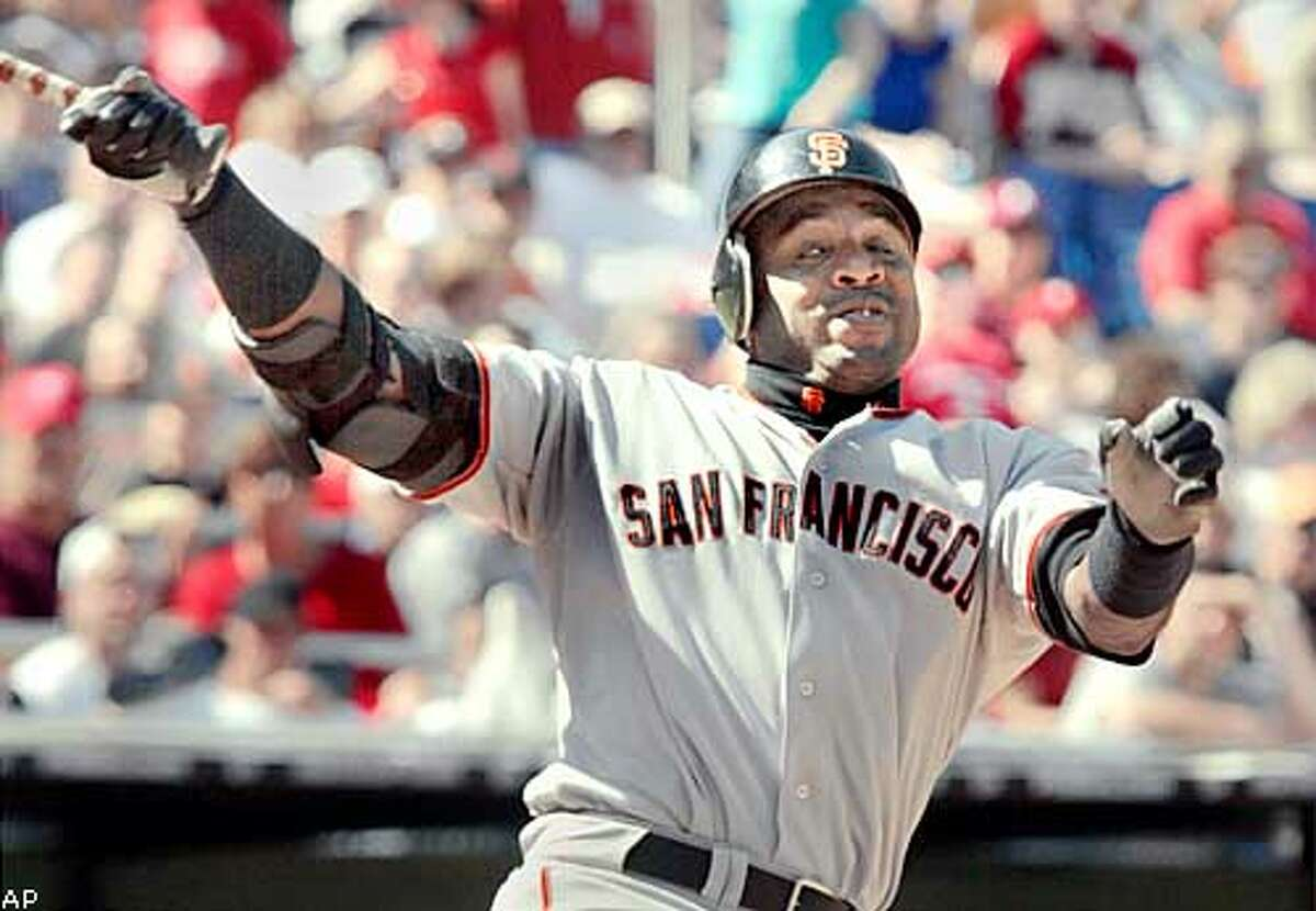 San Francisco Giants' Barry Bonds swings and misses against the Philadelphia Phillies in the seventh inning Sunday, April 27, 2003, in Philadelphia. Phillies ace Kevin Millwood threw a no-run no-hitter against the Giants for a 1-0 win. (AP Photo)