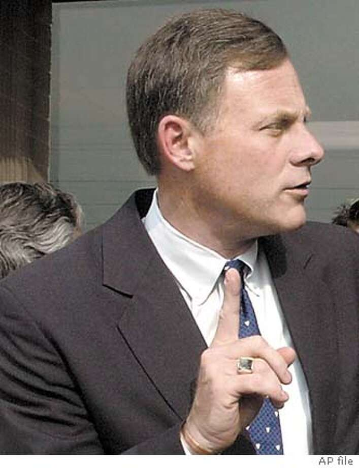 **File** Republican U.S. Senate candidate Richard Burr, left, talks with Patrick Ballantine, Republican nominee for N.C. governor, after a campaign function in Greenville, N.C., in a Sept. 13, 2004 photo. A $10 billion payout from a Republican Congress to tobacco growers this week and a tidal wave of television advertisements have elevated Burr into a neck-and-neck race with Democrat Erskine Bowles, former President Clinton's White House staff chief. The winner succeeds John Edwards in the Senate. (AP Photo/The Daily Reflector, Rhett Butler, File) Ran on: 11-03-2004  Jim Bunning Ran on: 11-03-2004  Jim Bunning, R-Ky. Ran on: 11-03-2004  Jim Bunning, R-Ky. Photo: RHETT BUTLER