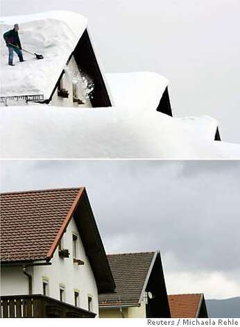 A combination of two pictures shows a man as he removes snow from the roof of his house in the Bavarian village of Zwiesel near Deggendorf February 11, 2006 and the same location pictured on January 12, 2007. The Intergovernmental Panel on Climate Change (IPCC) February 2, 2007, released its long-awaited report assessing the human link to pollution, global warming and climate change. REUTERS/Michaela Rehle (GERMANY) Photo: MICHAELA REHLE