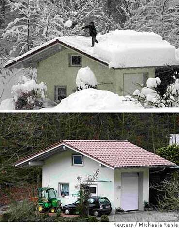 A combination of two pictures shows a man as he removes snow from the roof of his house in the little Bavarian village of Mietraching near Deggendorf (top) February 10, 2006, and the same place on January 12, 2007. The Intergovernmental Panel on Climate Change (IPCC) February 2, 2007, released its long-awaited report assessing the human link to pollution, global warming and climate change. REUTERS/Michaela Rehle (GERMANY) Photo: MICHAELA REHLE