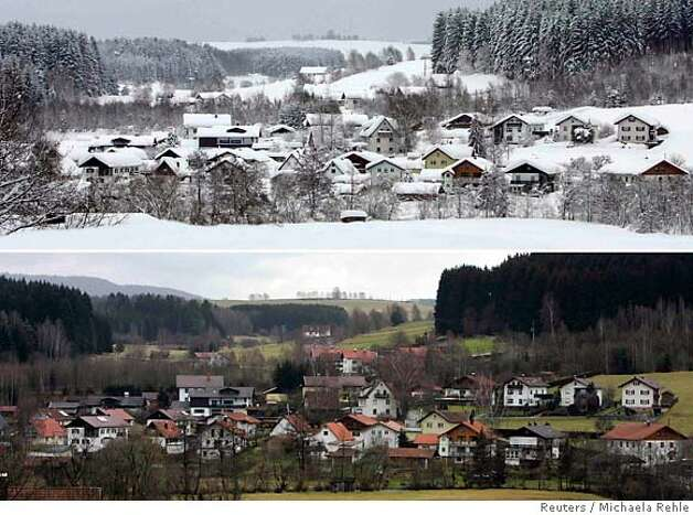 A combination of two pictures shows a general view of the snow-covered houses of the Bavarian village of Zwiesel near Deggendorf (top) February 11, 2006, and the same location on January 12, 2007. The Intergovernmental Panel on Climate Change (IPCC) February 2, 2007, released its long-awaited report assessing the human link to pollution, global warming and climate change. REUTERS/Michaela Rehle (GERMANY) Photo: MICHAELA REHLE