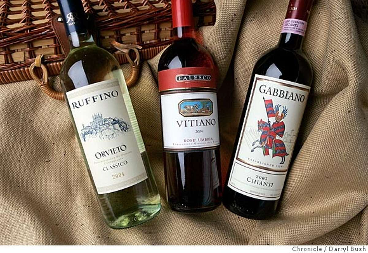 bargain wines include: 2004 Ruffino Orvieto Classico, 2004 Falesco, 2004 Vitiano Umbria Rose, 2003 Gabbiano Chianti Event on 7/14/05 in San Francisco. Darryl Bush / The Chronicle (styling by Darryl Bush)