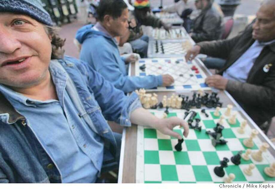 chess242_mk.JPG  Sergio Fernandez of San Francisco is one of the many regulars found at the chess tables on Market.  Chess players at Market and 5th can be found 7 days a week. 7/22/05 Mike Kepka / The Chronicle MANDATORY CREDIT FOR PHOTOG AND SF CHRONICLE/ -MAGS OUT Photo: Mike Kepka