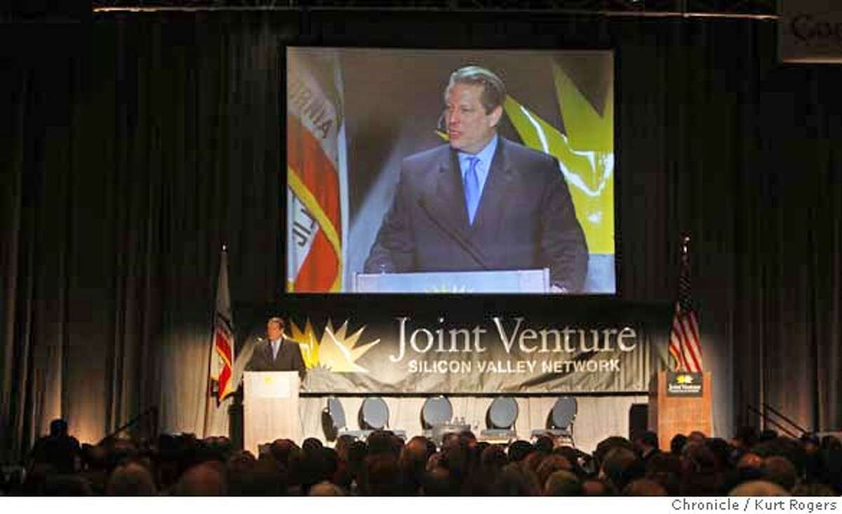 Al Gore was the key note speaker at todays luncheon and talked to business leaders at Joint Venture a Silicon Valley Network FRIDAY, FEBRUARY 02, 2007 KURT ROGERS/THE CHRONICLE SAN JOSE THE CHRONICLE SFC GORE_0003_kr.jpg MANDATORY CREDIT FOR PHOTOG AND SF CHRONICLE / -MAGS OUT
