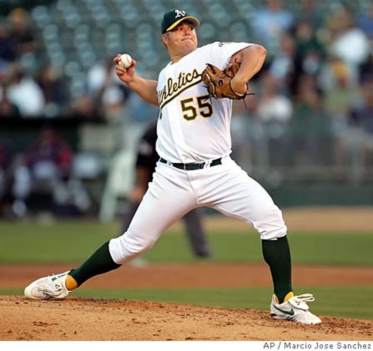 Oakland Athletics starter Joe Blanton throws to the Cleveland Indians in the third inning on Tuesday, July 26, 2005 in Oakland, Calif. (AP Photo/Marcio Jose Sanchez)
