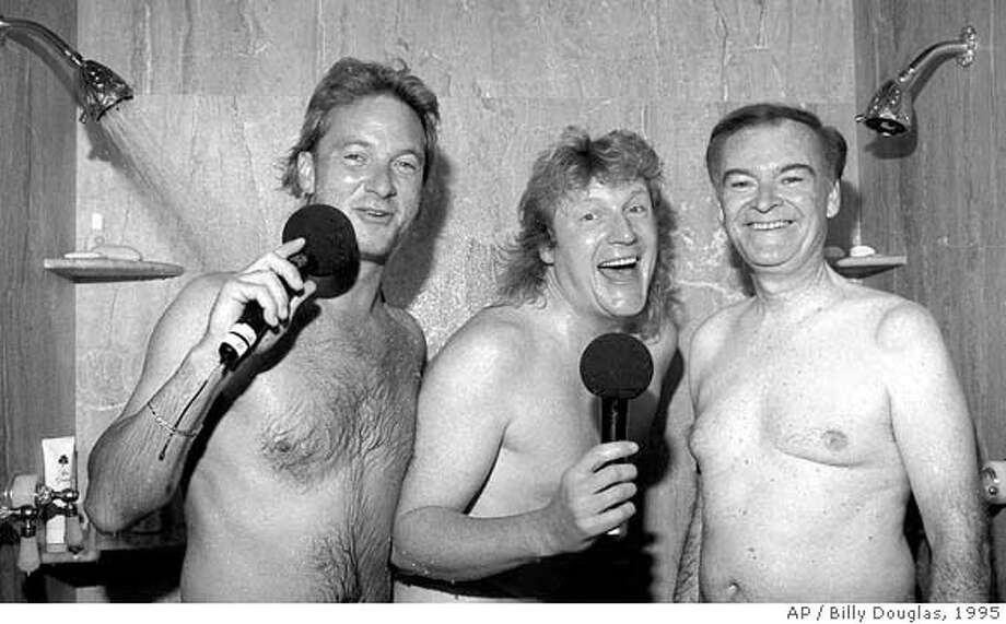 San Francisco Mayor Frank Jordan, right, joins KRQR morning radio show hosts Mark Thompson, left, and Brian Phelps, center, in the shower at his home in San Francisco, Friday Oct. 27, 1995. The Los Angeles-based syndicated radio personalities persuaded the mayor to shower with them while conducting an internet survey. The mayor is facing a close election within a couple weeks.(AP Photo/Billy Douglas, Pat Johnson Studios) CAT Photo: BILLY DOUGLAS