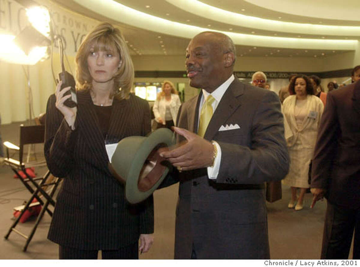 MAYORdC-17APR01-MN-LA Mayor Willie Brown, right, talks with grilfriend and mother of his new baby Carolyn Carpeneti, as they work during the Fourth San Francisco MAyor's Summit for Women, Tuesday April17,01, at the Moscone Center. Photo By Lacy Atkins/San Francisco Chronicle Ran on: 02-02-2007 Mayor Frank Jordan (right) joins Los Angeles morning radio show hosts Mark Thompson (left) and Brian Phelps in the shower at his home. Jordan lost his bid for re-election. Ran on: 02-02-2007 Mayor Frank Jordan (right) joins Los Angeles morning radio show hosts Mark Thompson (left) and Brian Phelps in the shower at his home. Jordan lost his bid for re-election.