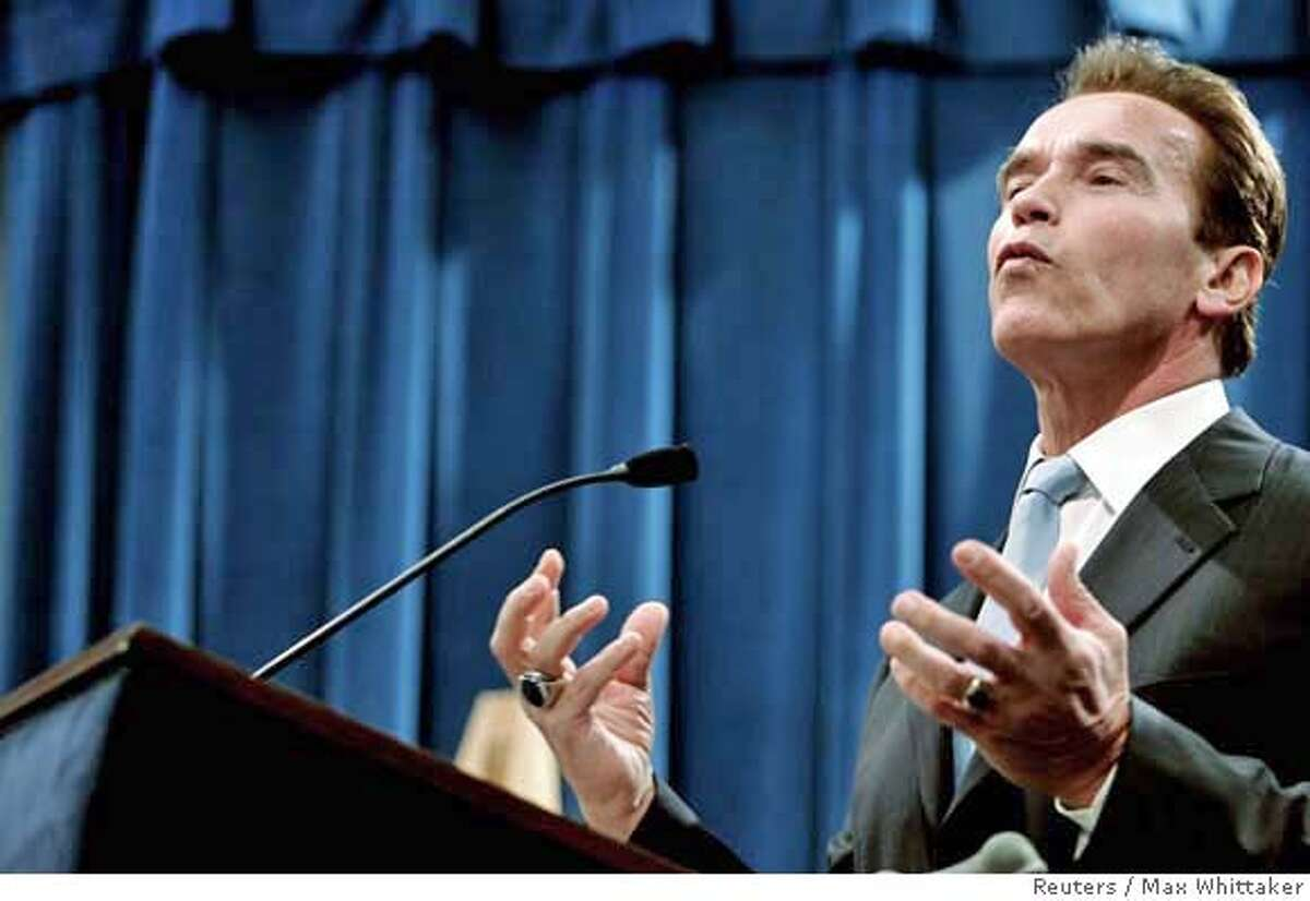 California Governor Arnold Schwarzenegger speaks about his health care proposal during a press conference on January 31, 2007 in Sacramento, CA. REUTERS/Max Whittaker (UNITED STATES)
