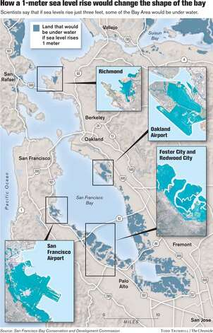 How a 1-meter sea level rise would change Bay Area shorelines. Chronicle graphic by Todd Trumbull