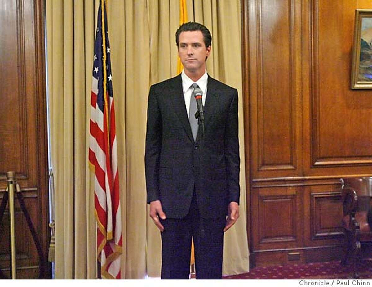 Mayor Gavin Newsom publicly apologized for an extramarital affair he had with the wife of a former staffer during a packed news conference at City Hall in San Francisco, Calif. on Thursday, Feb. 1, 2007. PAUL CHINN/The Chronicle