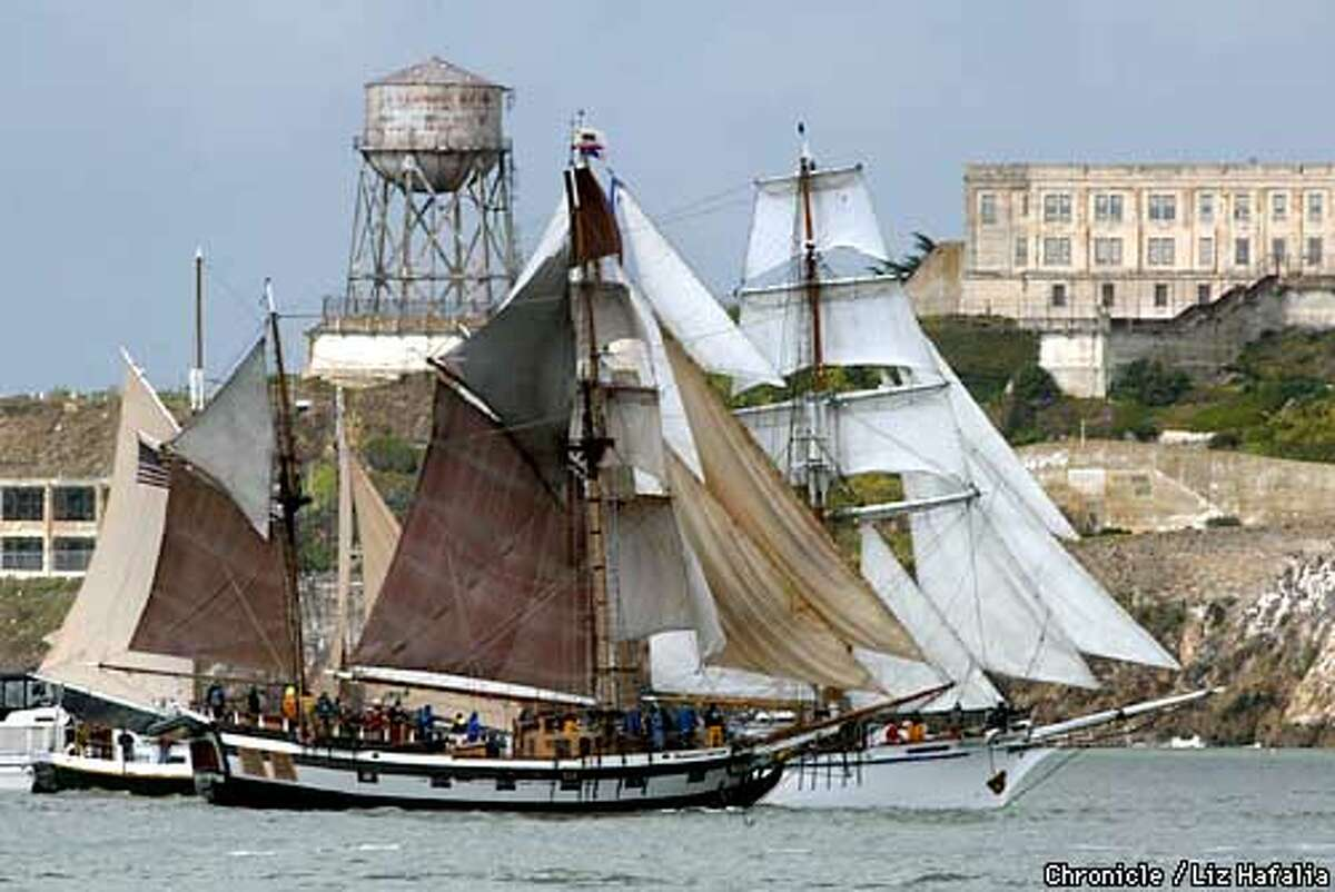 The Hawaiian Chieftain in foreground, and the Irvin Johnson (tall white ship), will be part of a boat show in Oakland. (PHOTOGRAPHED BY LIZ HAFALIA/THE SAN FRANCISCO CHRONICLE)