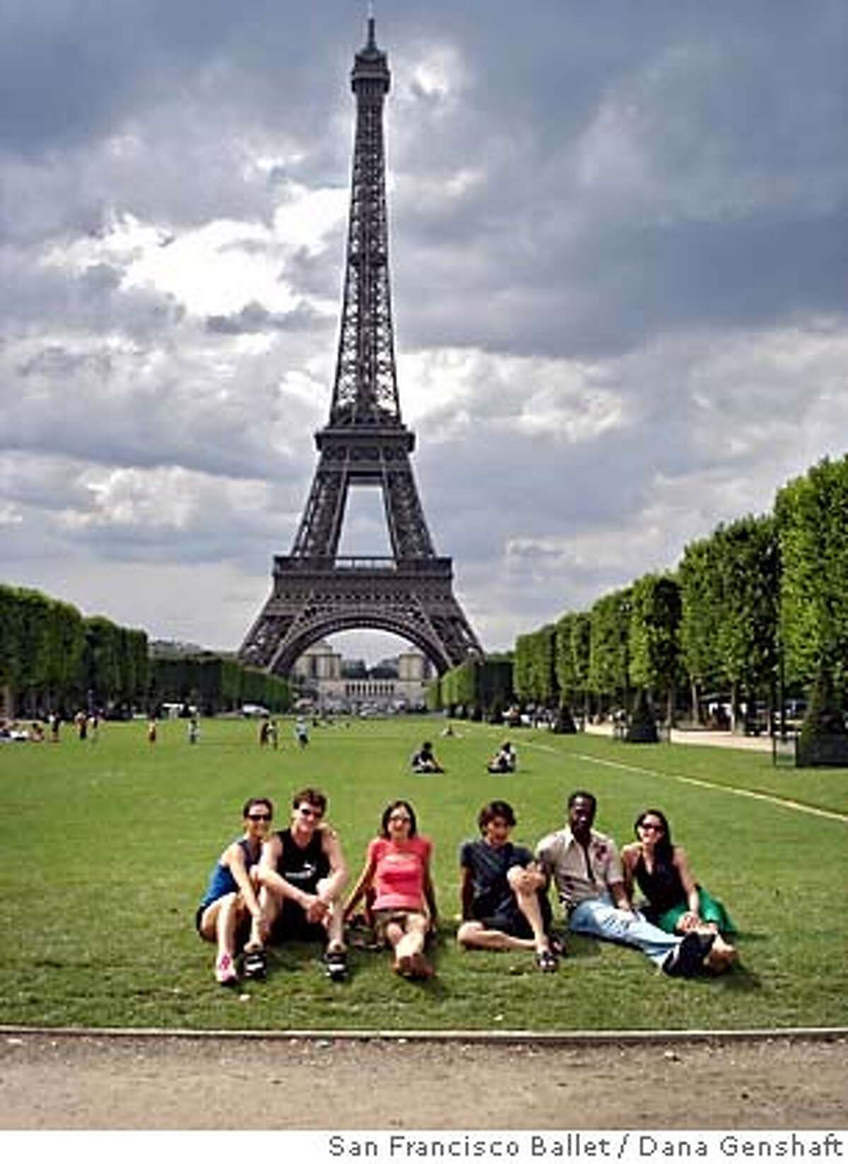 San Francisco Ballet dancers relaxing on the Champs de Mars during their three-week visit to Paris. Photo by Dana Genshaft/San Francisco Ballet
