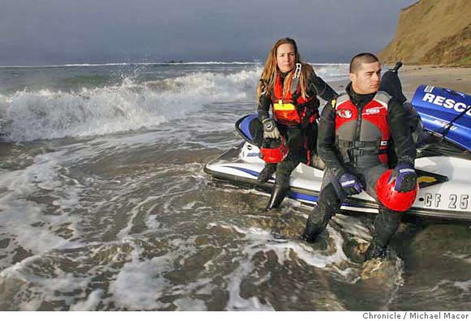 jetski_107_mac.jpg Alladio and Cahill on the edge of the Pillar Point where the surfing competition takes place. Jonathan Cahill and Shawn Alladio, run jet skis during the Marericks Surf Competition, off Pillar Point each year. They were riding jet skis towing surfers out to the break back in 2001 when a 100 foot wave came straight towards them. Unable to outrun the wave they decided to go up and over the hugh swell . Photographed in, San Francisco, Ca, on 1/30/07. Photo by: Michael Macor/ San Francisco Chronicle Mandatory credit for Photographer and San Francisco Chronicle / Magazines Out Photo: Michael Macor