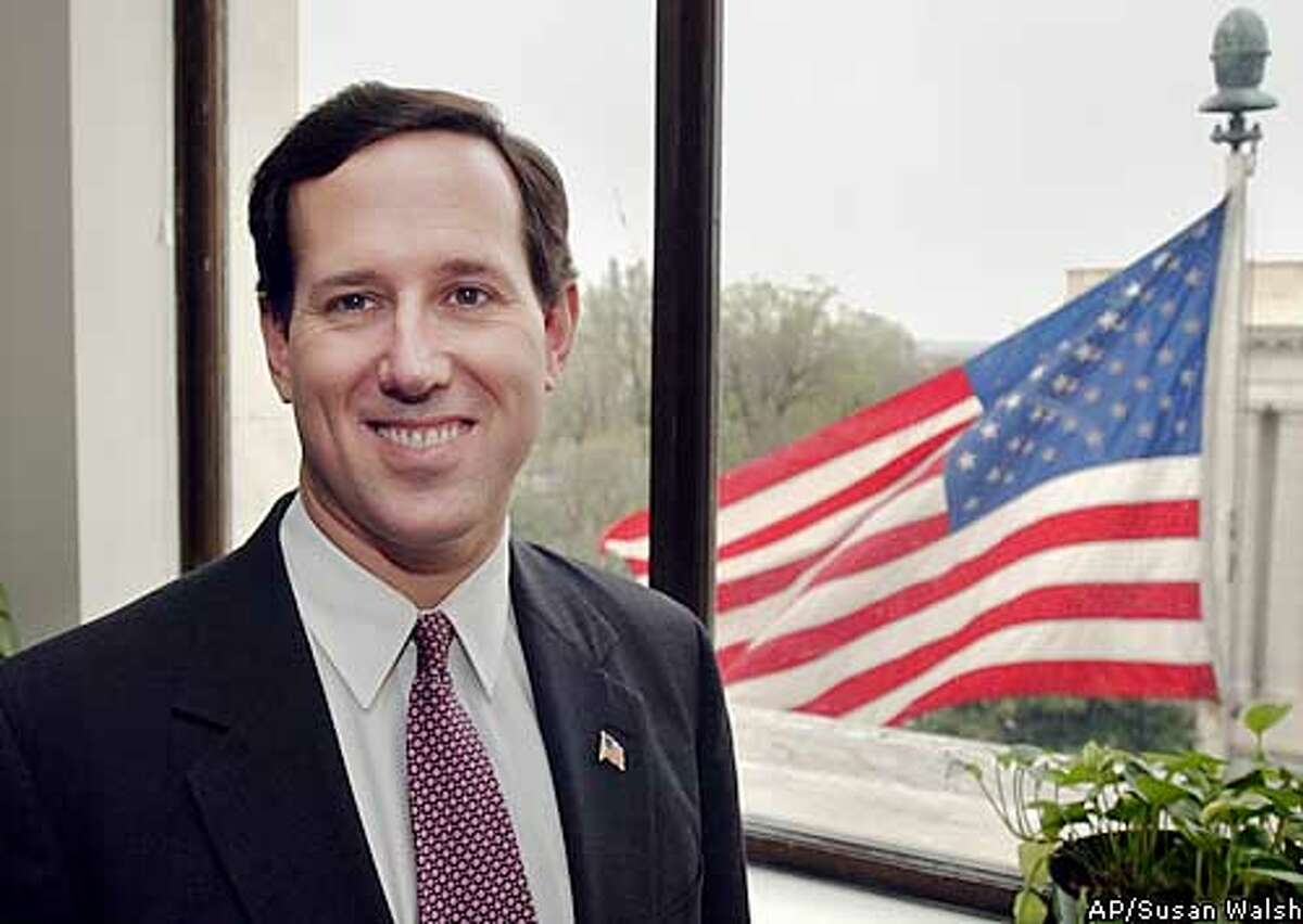 **ADVANCE FOR MONDAY APRIL 21** Sen. Rick Santorum, R-PA., in his office on Capitol Hill, IN Washington, Friday, April 11, 2003. (AP Photo/Susan Walsh)