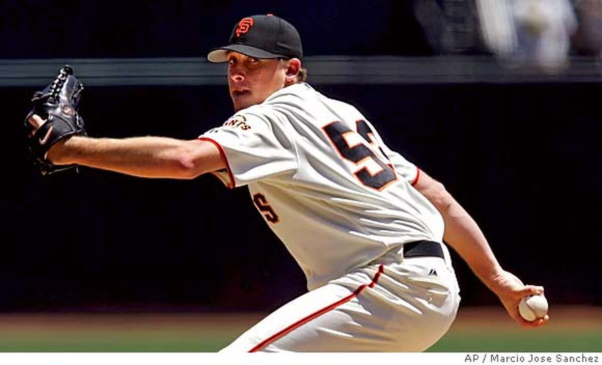 San Francisco Giants starter Kevin Correia throws to the Florida Marlins in the first inning on Sunday, July 24, 2005 in San Francisco, Calif. (AP Photo/Marcio Jose Sanchez)