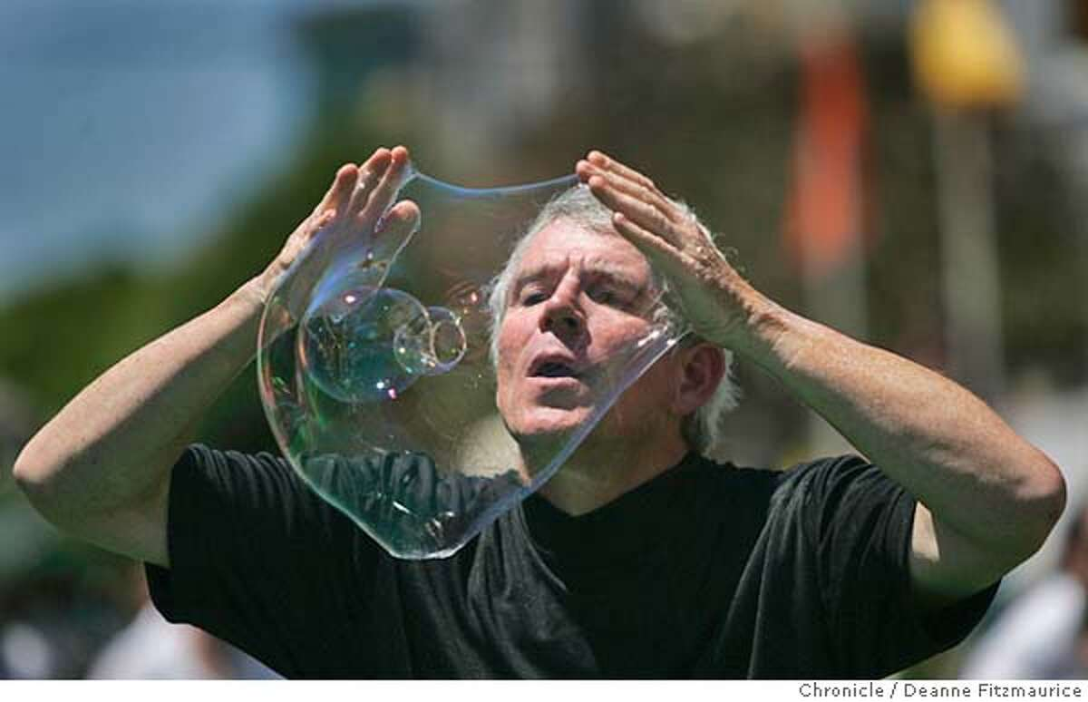 pets24_018_df.JPG Sterling Johnson from Fairfax blows bubbles from his hands as a stupid human trick. People and their animals came out to Union Street to try out for David Letterman's Stupid Pet and Human tricks. San Francisco Chronicle/ Deanne Fitzmaurice