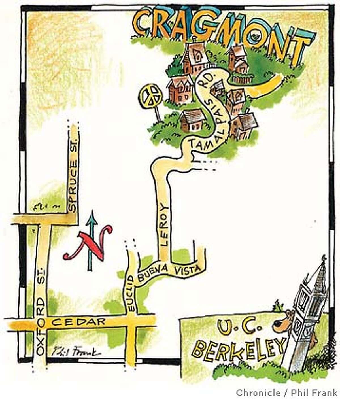 Berkeley's Tamalpais Road. Chronicle illustration by Phil Frank