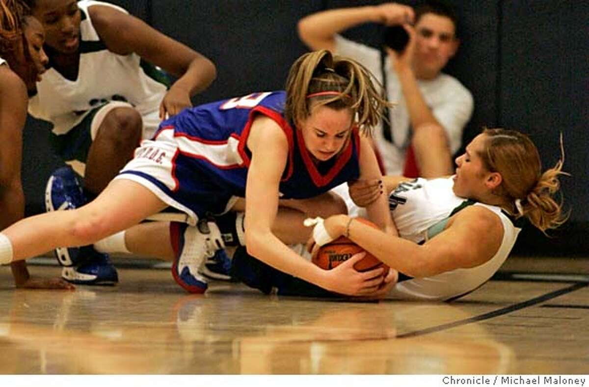 St. Ignatius' Maggie McCarthy (left) and Sacred Heart Cathedral's Monique Calvello battle for a loose ball. St Ignatius Wildcats vs Sacred Heart Cathedral Fightin' Irish girls varsity basketball game at Sacred Heart Cathedral High School in San Francisco. Photo taken on 1/30/07 by Michael Maloney / San Francisco Chronicle