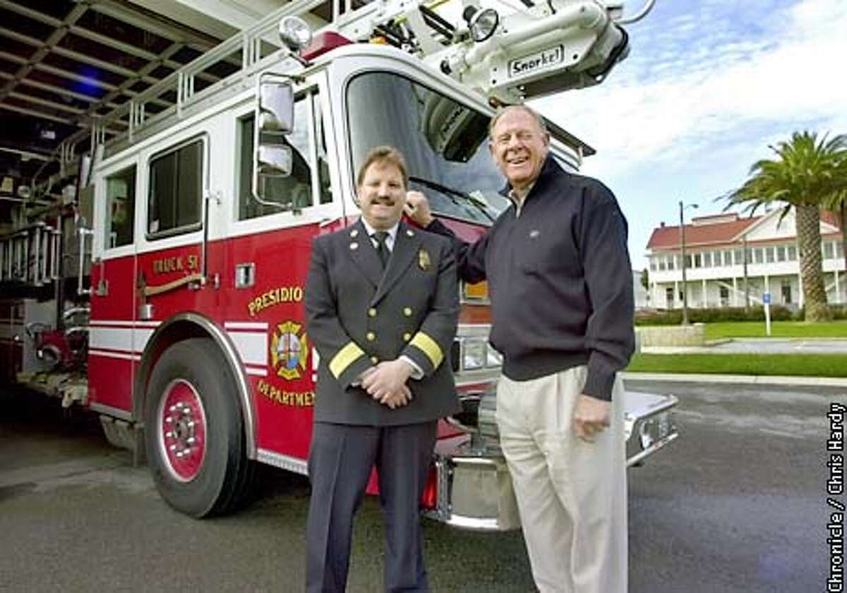 Tim Phipps and his father, Edward Phipps. Tim is fire chief at the Presidio Fire House. Dad was fire chief of San Francisco Fire Department from 1987-88. The two will be featured in story for Take Our Daughters and Sons to Work Day. -----CHRONICLE PHOTO BY CHRIS HARDY