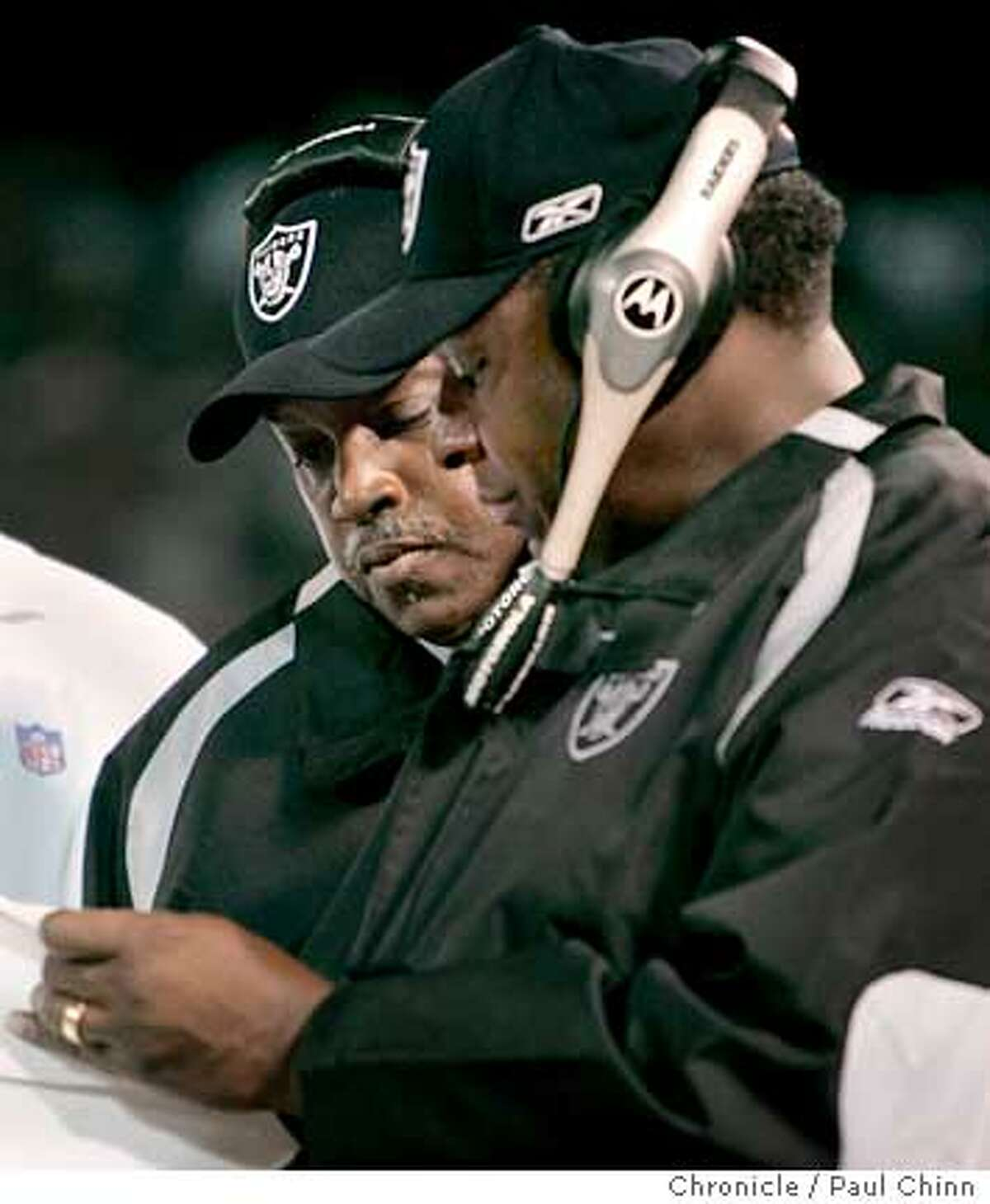 Head coach Art Shell (left) confers with co-offensive line coach Jackie Slater in the fourth quarter of the Oakland Raiders vs. San Diego Chargers at McAfee Coliseum in Oakland, Calif. on Monday, September 11, 2006. PAUL CHINN/The Chronicle **Art Shell, Jackie Slater Ran on: 09-13-2006 Art Shell and Jackie Slater are both Hall of Famer offensive linemen, but the current crop of Raiders they are coaching do not seem destined for such status. That may call for a special brand of understanding that many elite players do not have. Ran on: 09-13-2006 Art Shell and Jackie Slater are both Hall of Fame offensive linemen, but the current crop of Raiders they are coaching do not seem destined for such status. That may call for a special brand of understanding that many elite players do not have. ALSO Ran on: 12-25-2006 Hall of Famers Art Shell (left) and Jackie Slater have tried to teach the Raiders offensive linemen some new techniques. Ran on: 12-25-2006 Hall of Famers Art Shell (left) and Jackie Slater have tried to teach the Raiders offensive linemen some new techniques. Ran on: 01-31-2007 Jackie Slater (right), with former head coach Art Shell, wont be back as an offensive line coach with the Raiders next season.