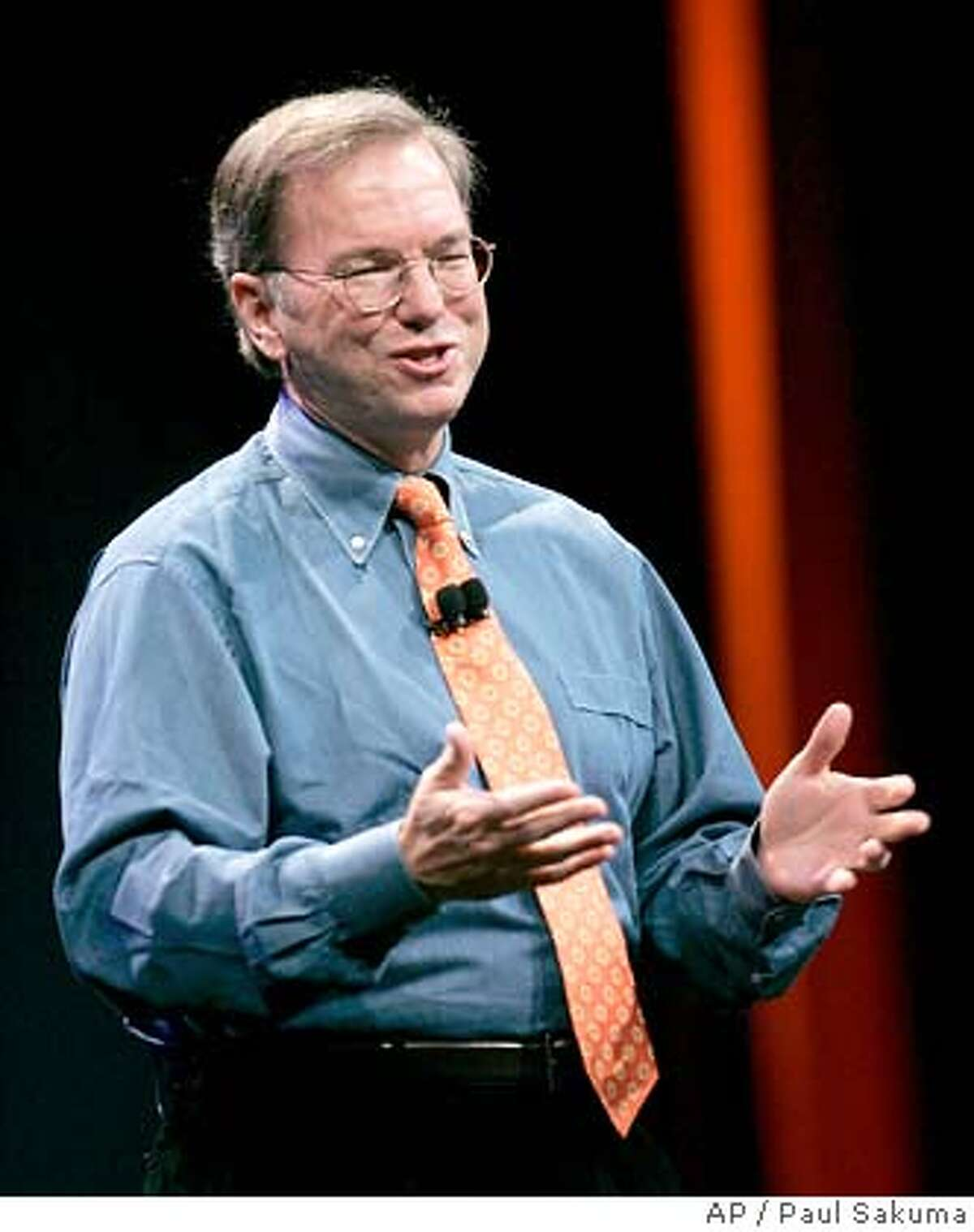 Google CEO Eric Schmidt gestures at MacWorld Conference & Expo in San Francisco, Tuesday, Jan. 9, 2007. Online search leader Google Inc. is expected to report another blowout quarter. (AP Photo/Paul Sakuma)