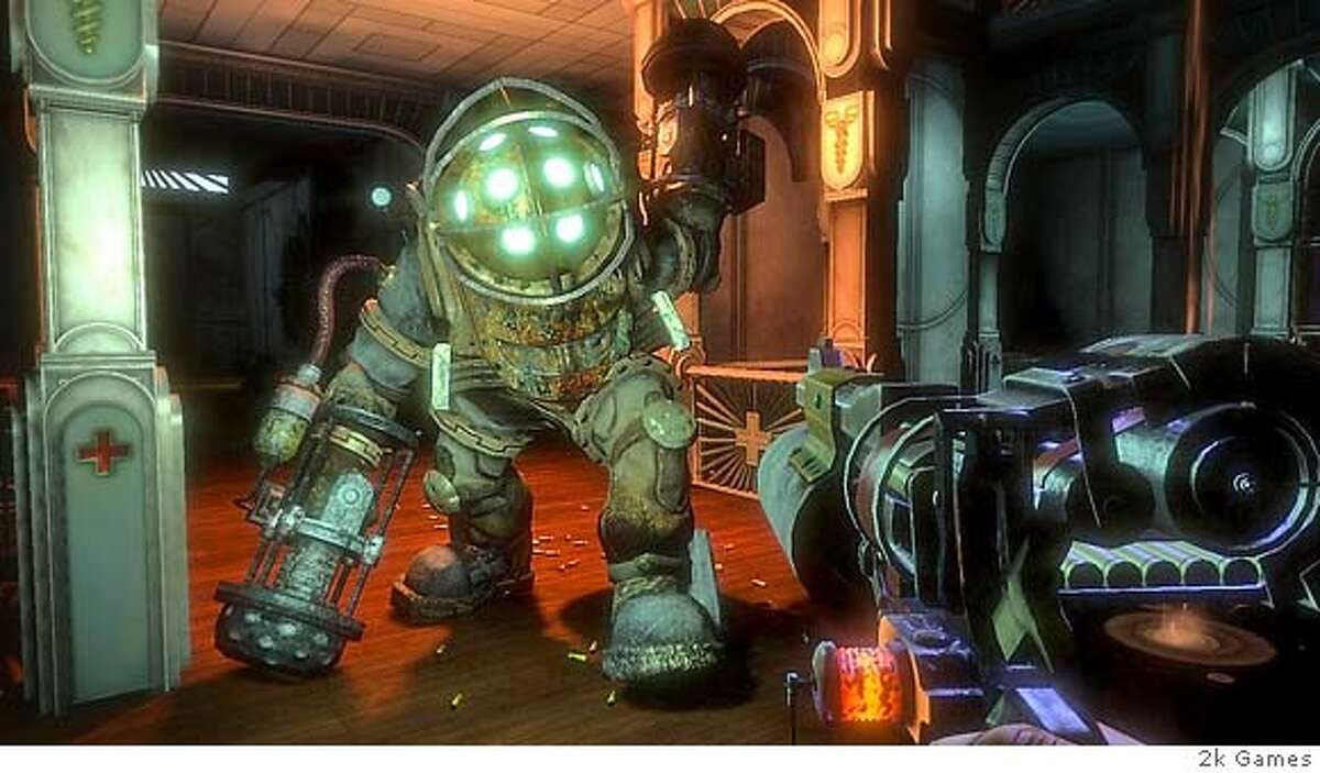 2k Games Bioshock is a hybrid first-person shooter that takes place in a underwater city filled with crime and mahem.
