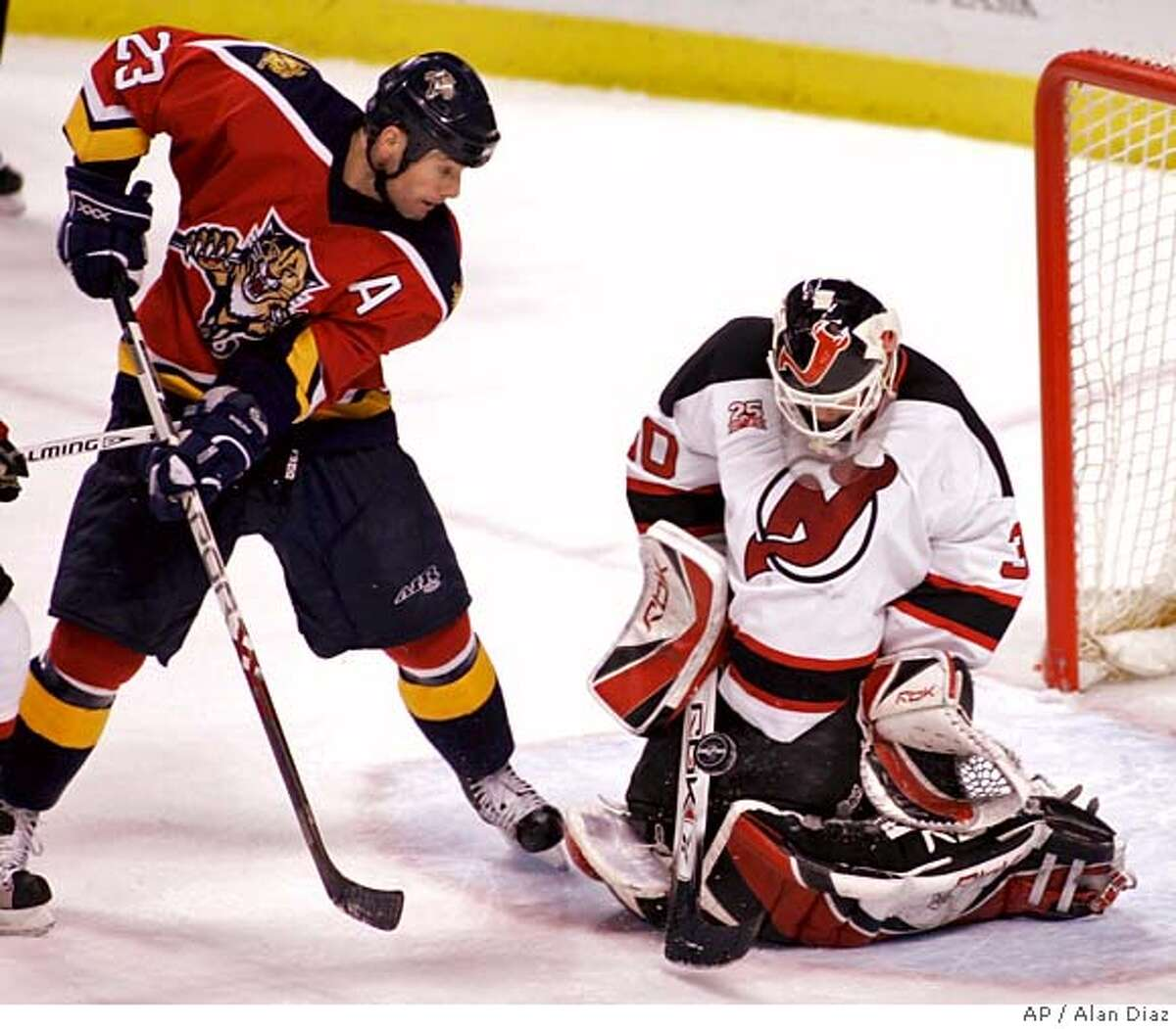 New Jersey Devils goalie Martin Brodeur, right, blocks a shot by Florida Panthers' Martin Gelinas (23) during the second period of an NHL hockey game in Sunrise, Fla., Saturday, Jan. 27, 2007. (AP Photo/Alan Diaz) EFE OUT
