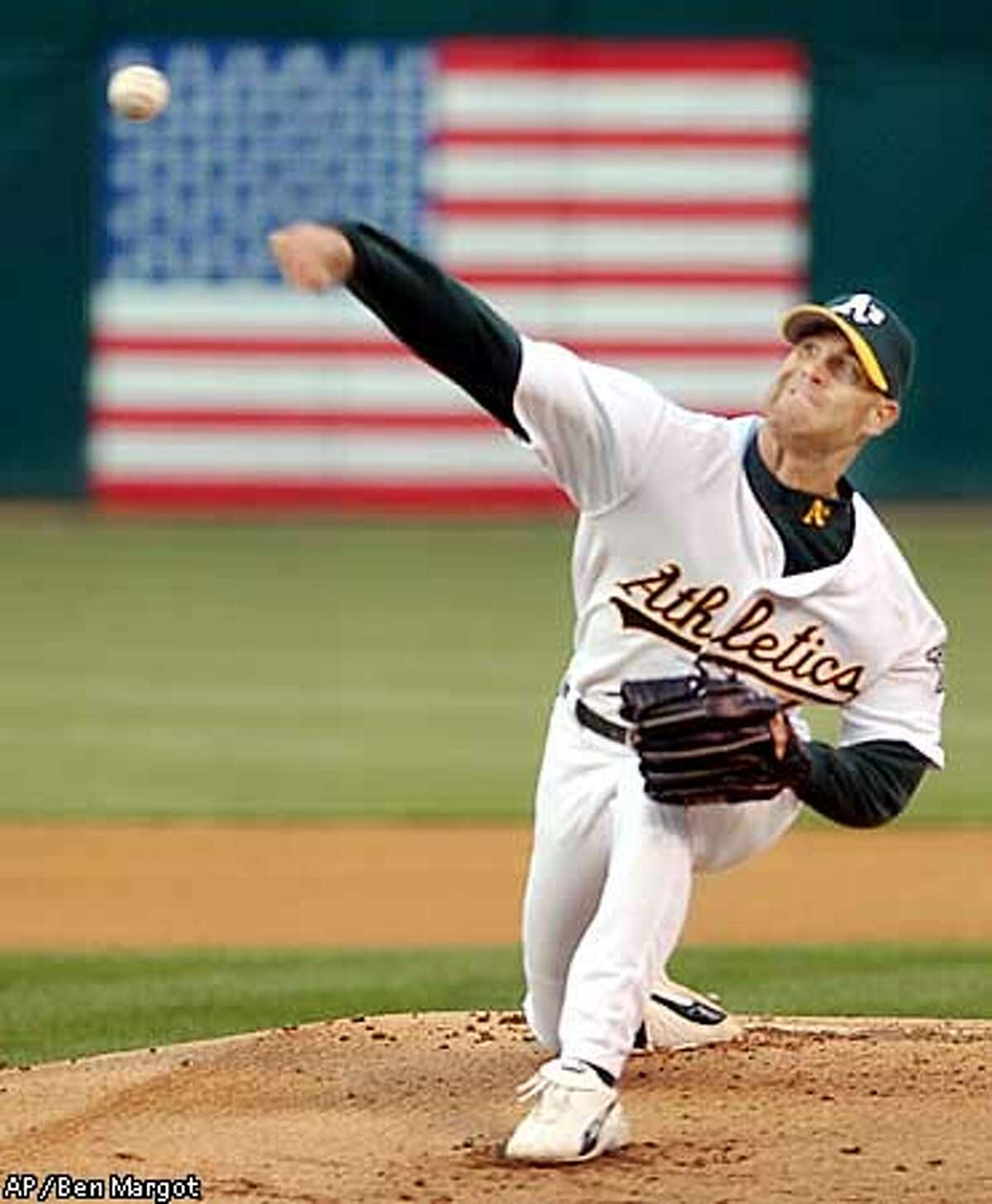 Oakland Athletics' Tim Hudson delivers against the Detroit Tigers in the first inning Tuesday, April 22, 2003, in Oakland, Calif. (AP Photo/Ben Margot)