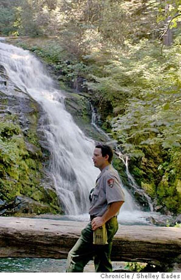 NEW_WATERFALL0006se.JPG On 7/20/05 in Whiskytown National Recreational Area National Park Service Wildlife Biologist Russ Weatherby, had heard that a waterfall might exist near the Whiskytown Lake area and was determined to find it. He discovered the 300 foot waterfall that is unnamed and has not appeared on any maps near Whiskytown Lake in a rugged forest. Chronicle Photo by Shelley Eades Photo: Shelley Eades