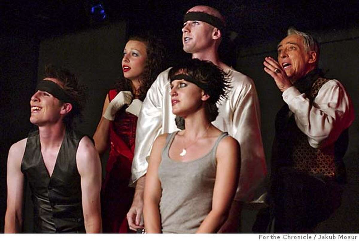 """Punch25_03_JMM.JPG From left to right, Josh Forcum, Olivia Rosaldo-Pratt, Rachel Schlessinger, Eric Barry and Jay Kerzner perform in """"Dark Horse, Indiana,"""" at the Punch Theatre in the basement of the La Vals pizza parlor in Berkeley. Event on 7/15/05 in Berkeley. JAKUB MOSUR / The Chronicle MANDATORY CREDIT FOR PHOTOG AND SF CHRONICLE/ -MAGS OUT"""