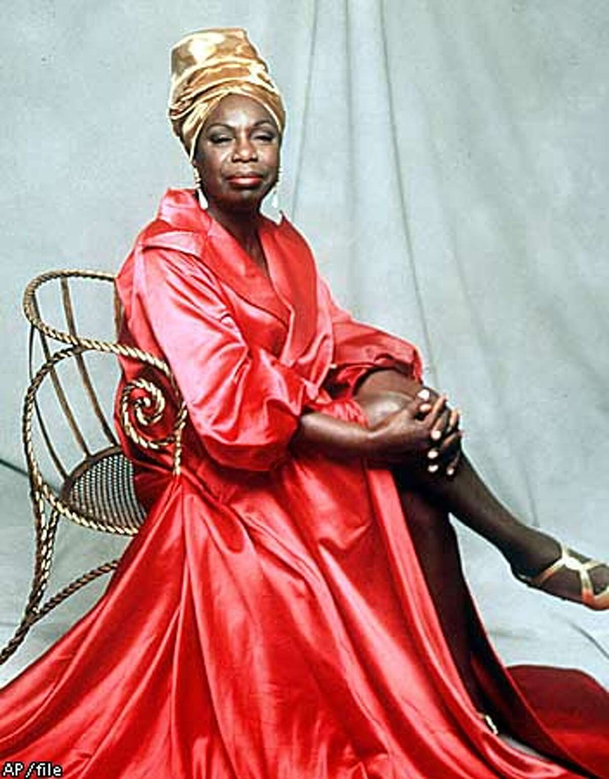 ** FILE ** Nina Simone is shown in this 1993 handout file photo. Simone, the jazz great whose rapsy, forceful voice helped define the civil rights movement, died Monday, April 21, 2003, at her home in France, according to her U.S. booking agent. She was 70. (AP Photo/File)