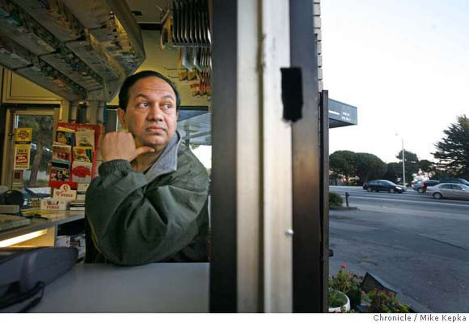 �gasstation00398_mk.JPG Twin Peaks night Cashier, Jimmy Sukhadia watches for customers as the sun goes down over the hill. Twin Peaks Auto Care, owned by Michael Gharib, is a neighborhood ficture for Twin Peaks residents. 12/27/06. Mike Kepka / The Chronicle Jimmy Sukhadia (cq) the source MANDATORY CREDIT FOR PHOTOG AND SF CHRONICLE/ -MAGS OUT Photo: Mike Kepka