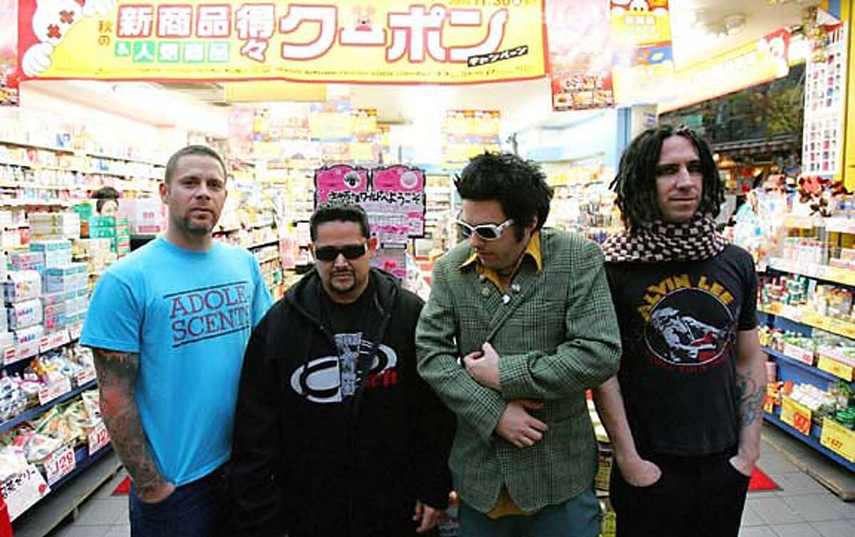 Photo of the band NOFX. Left to Right: Erik, El Hefe, Fat Mike, Eric Melvin Credit: Jesse Fischer