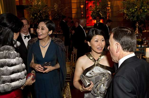 Jennie Chiu, Yurie Pascarella, Akiko Yamazaki and Carl Pascarella (left to right) chat after dinner during the San Francisco Ballet Opening Night Gala at City Hall in San Francisco, Calif., on Thursday, January 19, 2012. Photo: Laura Morton, Special To The Chronicle