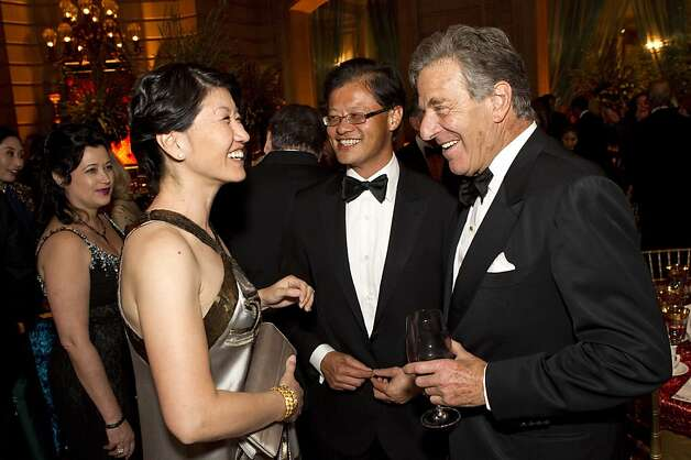 Akiko Yamazaki, Jerry Yang and Paul Pelosi (left to right) chat after dinner during the San Francisco Ballet Opening Night Gala at City Hall in San Francisco, Calif., on Thursday, January 19, 2012. Photo: Laura Morton, Special To The Chronicle