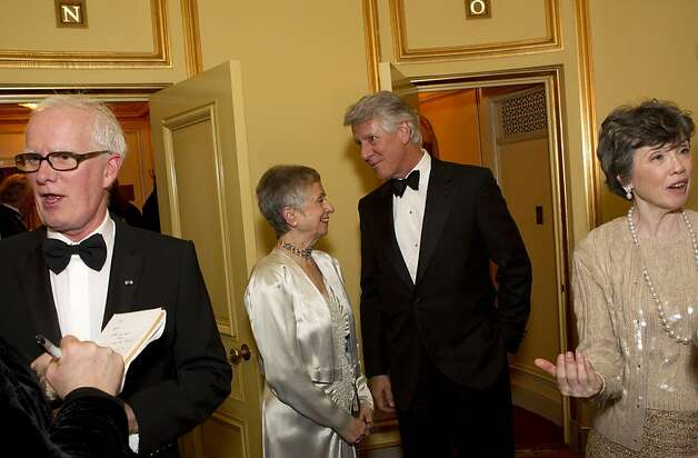 San Francisco Ballet Artistic Director Helgi Tomasson, Marlene Tomasson, Jeff Hays and Carole Shorenstein Hays (left to right) chat during intermission during the San Francisco Ballet Opening Night Gala at War Memorial Opera House in San Francisco, Calif., on Thursday, January 19, 2012. Photo: Laura Morton, Special To The Chronicle