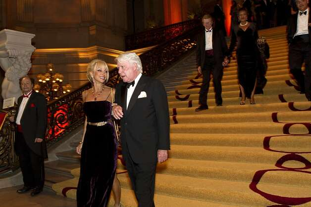 Daru Kawalkowski (second from left) walks down the stairs of City Hall wth Alton Irby while attending the the San Francisco Ballet Opening Night Gala in San Francisco, Calif., on Thursday, January 19, 2012. Photo: Laura Morton, Special To The Chronicle