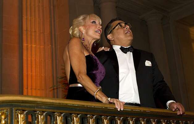 Daru Kawalkowski checks out the decor in City Hall with Riccardo Benavides who designed the decorations during the the San Francisco Ballet Opening Night Gala in San Francisco, Calif., on Thursday, January 19, 2012. Photo: Laura Morton, Special To The Chronicle