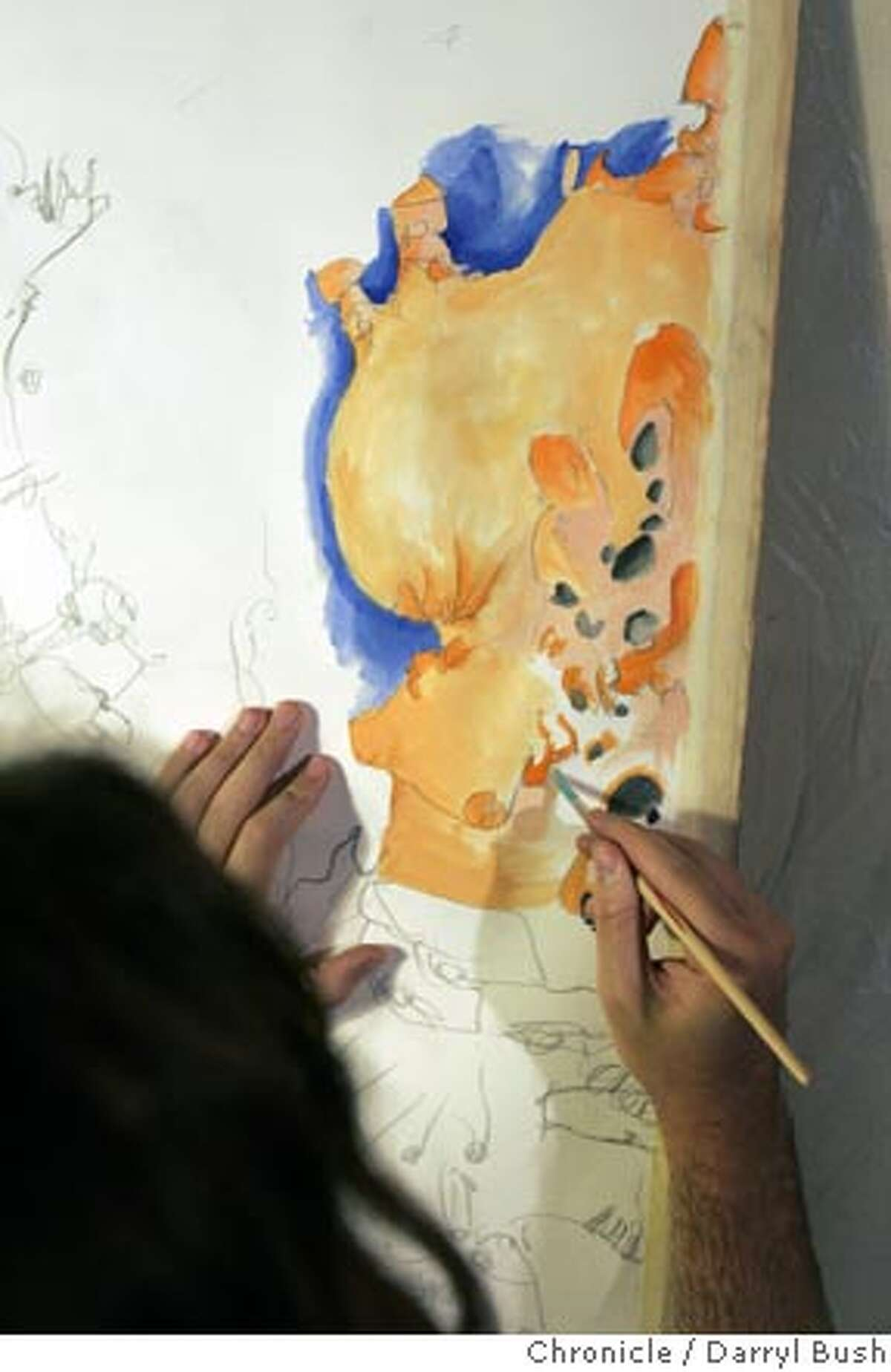 Artist Kelly Porter paints an abstract painting he says,