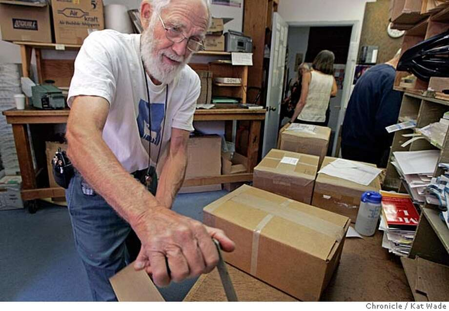 On 7/13/05 in Berkeley volunteers Stan Sprague (LEFT) from Berkeley packsbooks in many languages for destinations from paid orders to Minesota to free shipments to Malawi at the Hesperian Foundation, the Berkeley-based publishing company that has an international reputation for its books on health care. Kat Wade/ The Chronicle Photo: Kat Wade