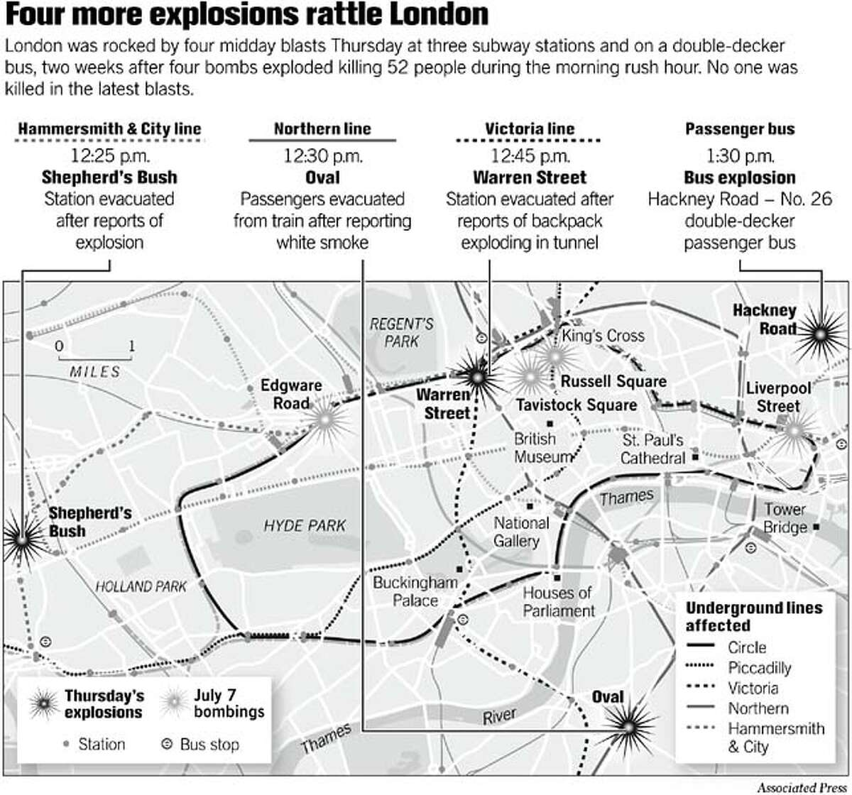 Four more explosions rattle London. Associated Press Graphic